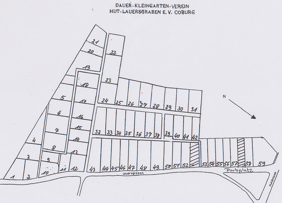 Lageplan Gartenanlage Hut-Lauersgraben